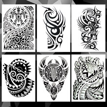 Waterdichte Tijdelijke Tattoo Sticker Arm Totem Stam patroon tattoo Water Transfer vlam power stijl body art nep tattoo voor mannen(China)