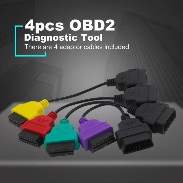 albabkc 4pcs OBD2 For Fiat ECU Scan Diagnostic Cables MultiECUScan Adapter Bundle
