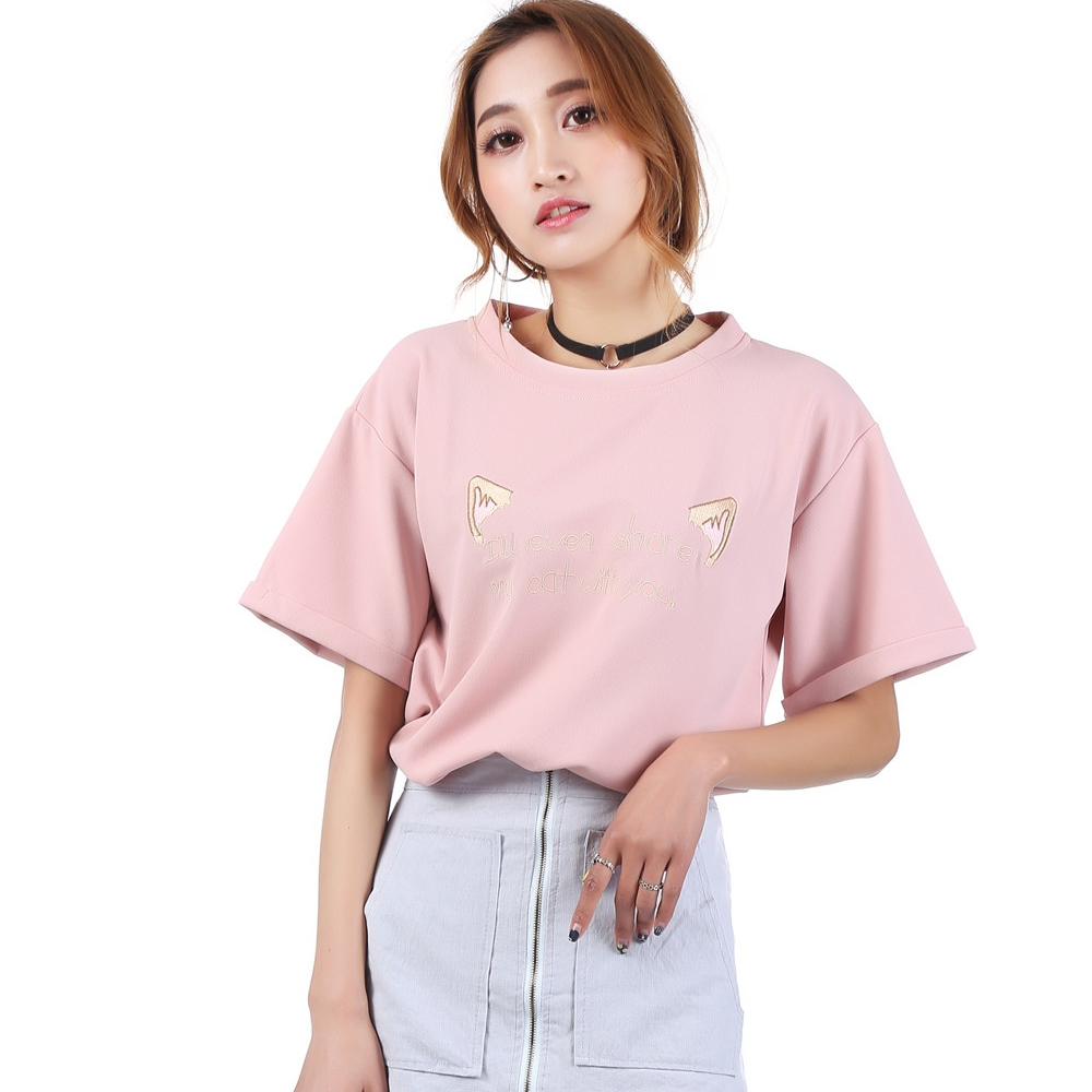 2017-Summer-T-shirt-Tops-Women-Loose-Oversized-White-Pink-Short-Tee-Shirt-Oneck-Short-Sleeve