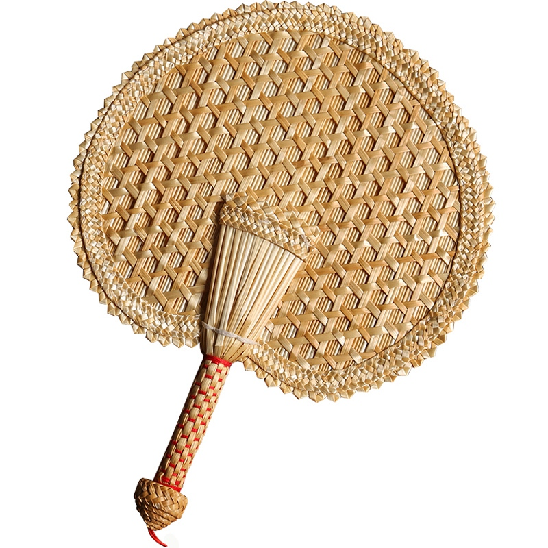 1pc Hand Straw Woven Fan Vintage Summer Japanese Handmade Home Decoration Crafts