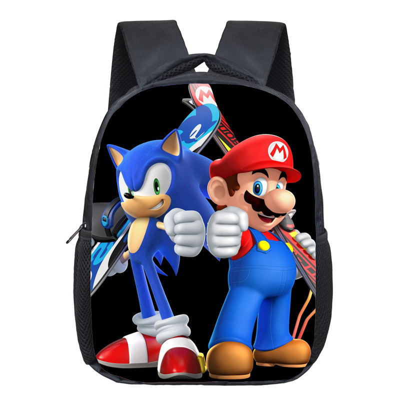 Super Mario Printing Backpack Children Cartoon Sonic Backpacks Boys Girls SchoolBag For Kindergarten Daily Backpack Kids BookBag 2017 new children school backpacks small 3d animal monkey backpack baby toddler backpack kids kindergarten schoolbag for boys