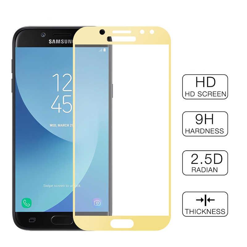 9 H Screen Protector สำหรับ Samsung Galaxy A7 J4 J6 A6 A8 Plus J8 2018 J3 J5 J7 2017 A3 a7 2016 Full Cover กระจกนิรภัยฟิล์ม