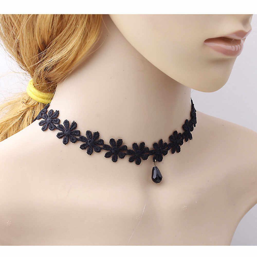 Gorący damski modny naszyjnik czarny koronkowy kołnierzyk Choker komunikat wisiorek warstwowy Jewelries Choker akcesoria szokujące ceny naszyjniki