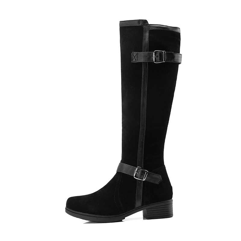 WETKISS Kalın Topuklu Kadın Çizmeler Yuvarlak Ayak Zip Akın Ayakkabı Sürme Kadın Çizme Casual Diz Yüksek Ayakkabı Kadın 2018 Kış yeni