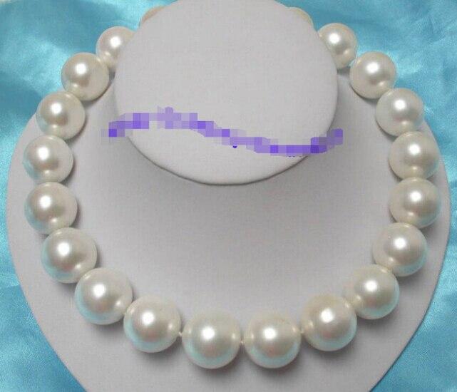 Merveilleux énorme 20mm blanc ronde du sud coquillage perles collier Usine En Gros prix Femmes Cadeau mot Bijoux