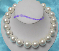 Wonderful huge 20mm white round south seashell pearls necklace Factory Wholesale price Women Gift word Jewelry