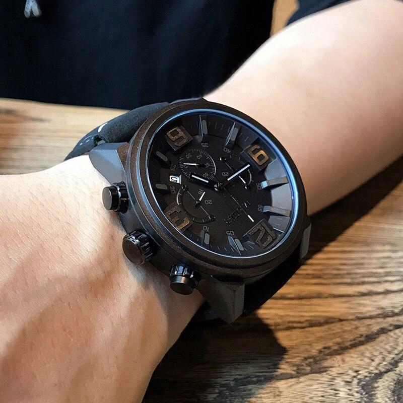 7b40eb2317d MEGIR Homens Criativos Big Dial Militar Sports Relógios Moda Marca de Topo  de Quartzo de Couro À Prova D  Água Relógio de Pulso Relogio masculino