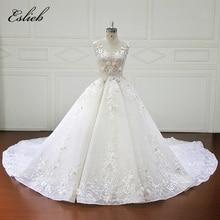 Eslieb luxus teljes virágok Kristály gyöngyök esküvői ruha 2018 Ball Gown Royal vonat esküvői ruhák vestidos de novia