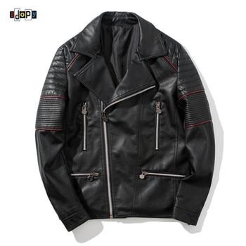 Idopy Men`s Faux Leather Jacket PU Biker Motorcycle Motorbike Style Designer Label Collar Slim Fit Black Leather Coat Outerwear