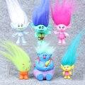 2016 Película 6 Unids/set Trolls 8 cm Dreamworks Figura Muñecas De Colección de Amapola Rama Biggie Trolls de PVC Figuras de Acción de Juguete Muñeca Trolls