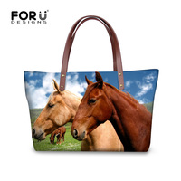 FORUDESIGNS Brand Women Luxury Handbag Tote 3D Animal Horse Printed Crossbody Bags For Ladies Large Messenger