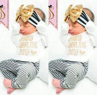 Cute Baby Girls Top Romper Stripe Pants Legging Bow Headband Outfits Clothes Set