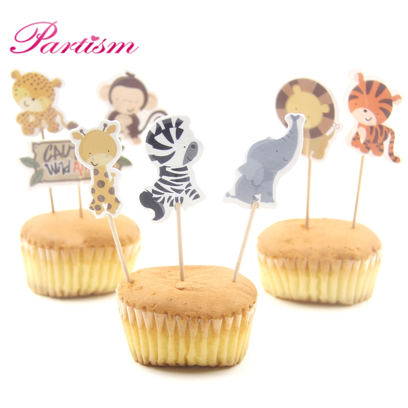 Pleasing 24Pcs Cute Mini Animal Party Cupcake Toppers Birthday Cakes Topper Funny Birthday Cards Online Inifofree Goldxyz