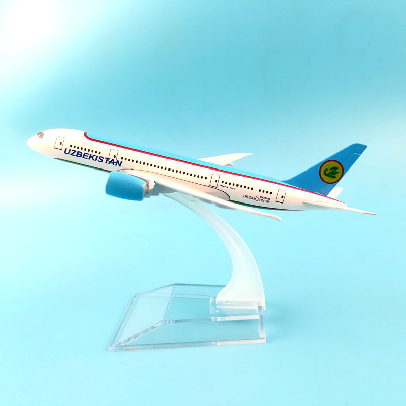 16CM UZBEKISTAN 787 METAL ALLOY MODEL PLANE AIRCRAFT MODEL TOY AIRPLANE Model W Stand Toys For Children Dropshipping Store