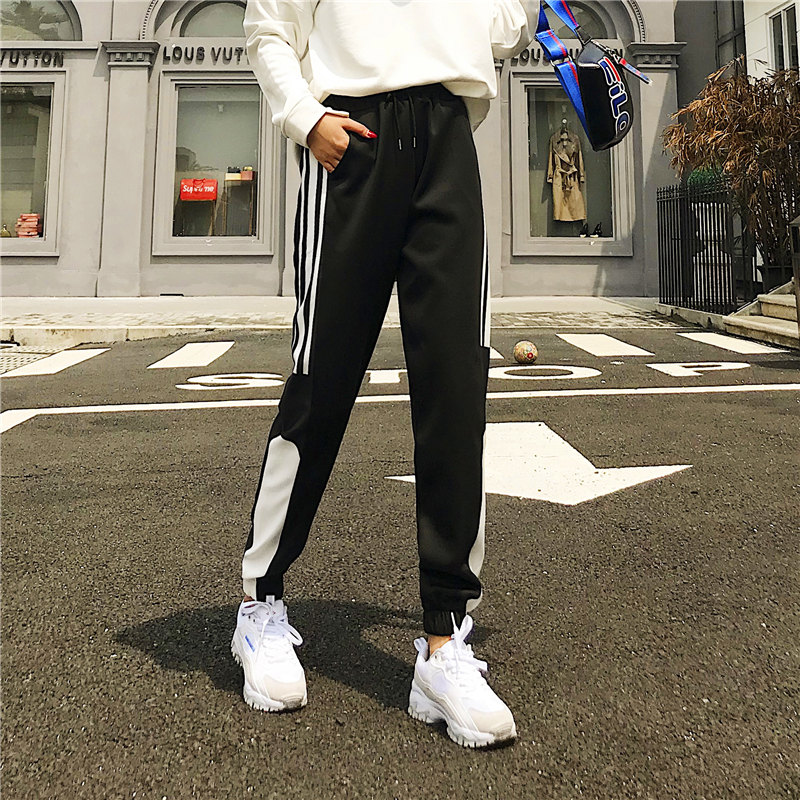 Cargo Pants Women Patchwork Long Pants High Waist Side Striped Black Trousers Student Elastic Waist Harajuku Plus Size Bottoms 44