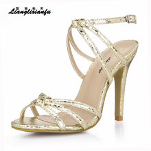 LLXF stilettos Summer Gladiator 10cm High-Heeled shoes woman Buckle Pumps Party  sandals Snake Print sandalias Plus 35-42 43 26e594fcd15a