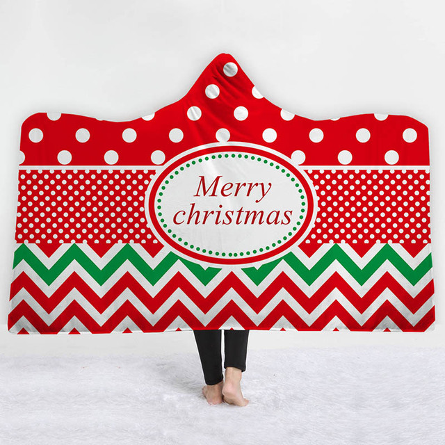 christmas hooded blanket for adults 3d printed wearable wrap 2 layer thickening throw blanket for bed