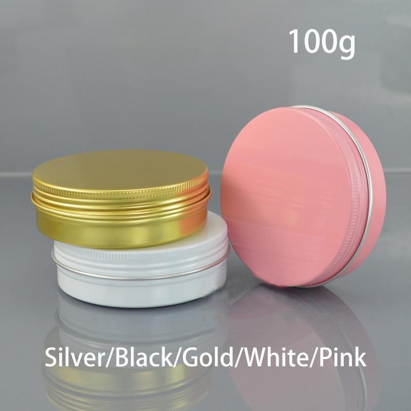 100g bílé hliníkové láhve kosmetické krém Jar 100ml prázdné vosk balení balení pilulka Candy šroub kovové láhve doprava zdarma