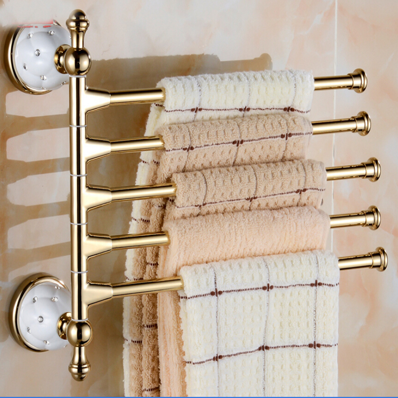Wall Mounted Golden Brass Bathroom Towel Rack Holders Swivel Towel Bars Ceramic Base Bar Hangers 5 Bars diamond ceramic base golden brass bathroom toilet paper holder wall mounted