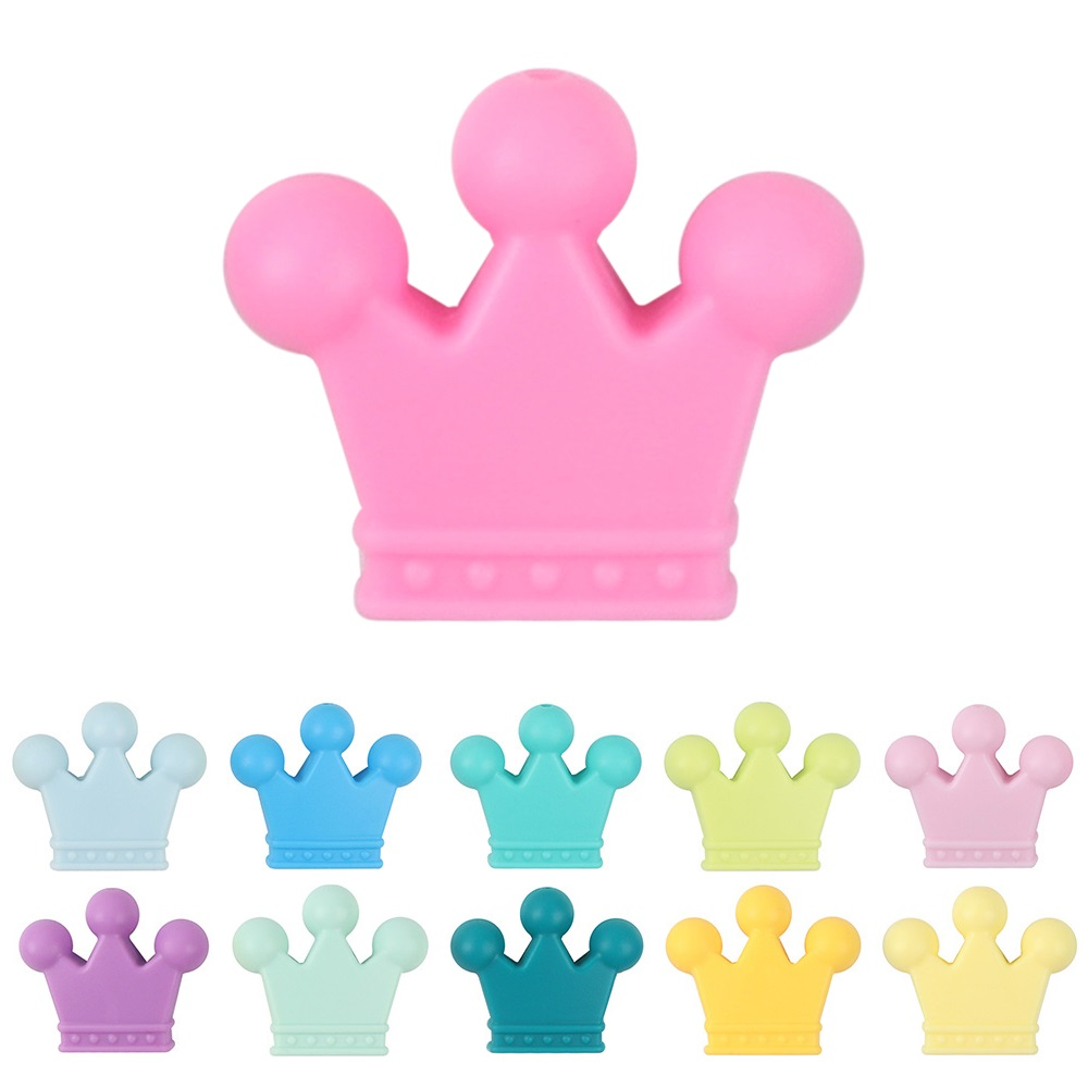 Tyry.hu 10pcs/lot Crown Silicone Beads Baby Teether Silicone Teething Beads For Diy Necklace Bracelet Pacifier Chain Teethers