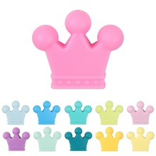 TYRY.HU Original 10Pcs Crown Silicone Beads Mordedor Baby Teether Nursing Pendant For DIY Necklace Bracelet Pacifier Chain