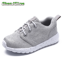 Mumoresip Kids Shoes Soft Air Mesh Sports Shoes For Boys Girls Glitter Leather Breathable Fashion Children Running Sneakers Hot