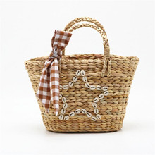 2019 new women handmade star straw handbags casual shell holiday bags with Scarf travel beach bags for girls drop shipping M493
