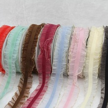 16mm 10yards/roll Golden Metallic Edge Ruffle Elastic Ribbon For DIY Hair Accessories Garment