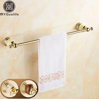 Luxury Crystal And Jade Golden Single Towel Bar Wall Mounted Brass Towel Holder Rod