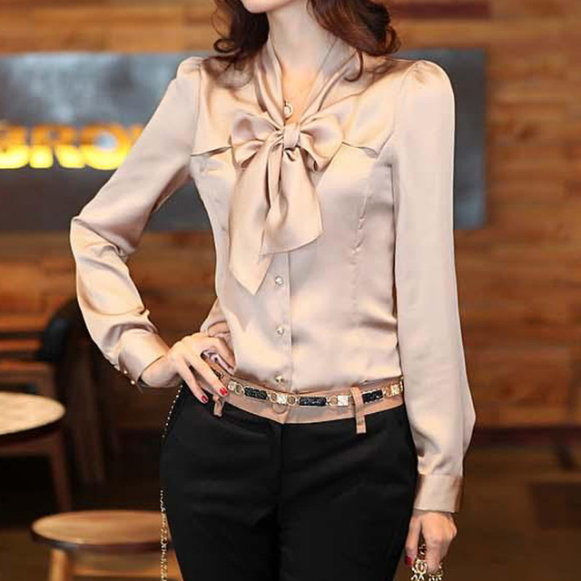 SETWIGG 2017 Spring Korean Womens Sleeve OL Blouses & Shirts Neck Bow Long Sleeved Female Elegant Satin Top Shirt & Blouse