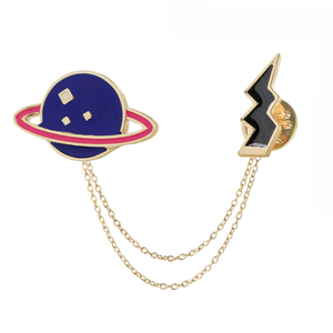 Planet Saturn Lightning Broches With Chain Collor Pins Set Badge Party Lapel Pin Sets Hard Enamel Brooch For Women & Girls