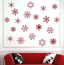 Set of 20 Snowflakes decal 10-15CM Holiday wall Decals for Walls Christmas Stickers Art Decal Snow Flakes M-154
