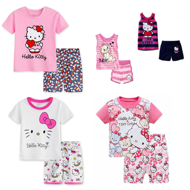 d71539088 2018 Hello Kitty Clothes Set For Kids Girls Short Sleeve Hello Kitty T  shirt Tshirt T-shirt Children Clothing Summer Clothes New