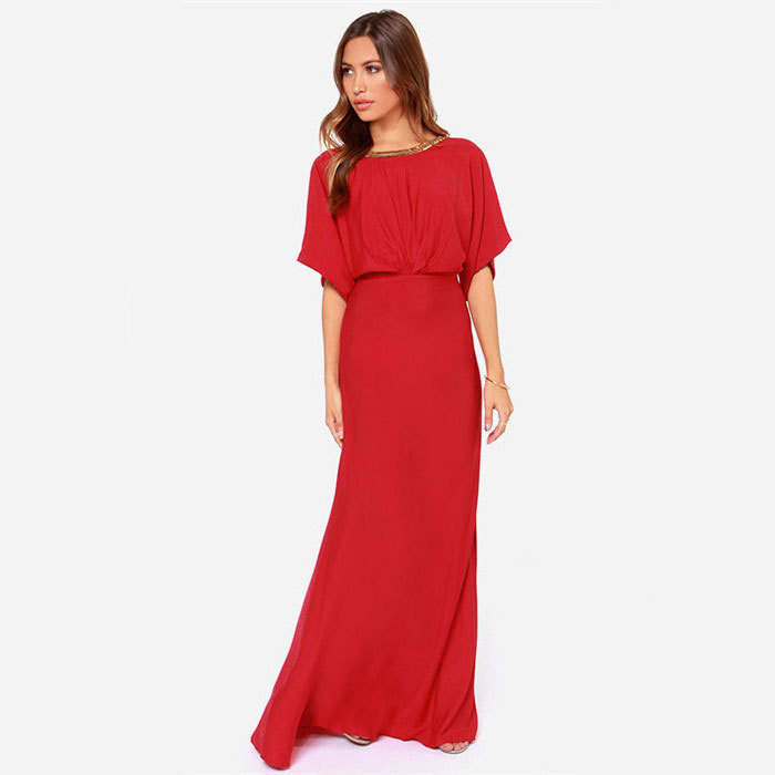 Summer Maxi Red Dresses with Sleeves