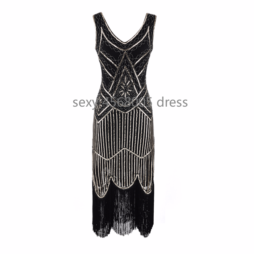 767740d3ca 1920s Women Flapper Dress Sparkly V-neck Beads Sequined Great Gatsby Dress  20s Sleeveless Fancy Dress for Theme Party Prom