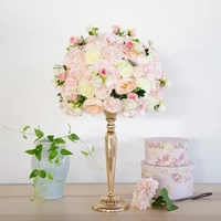 top quality pink artificial silk roses road lead huge flower ball wedding table centerpiece wedding flower docoration 2pcs/lot