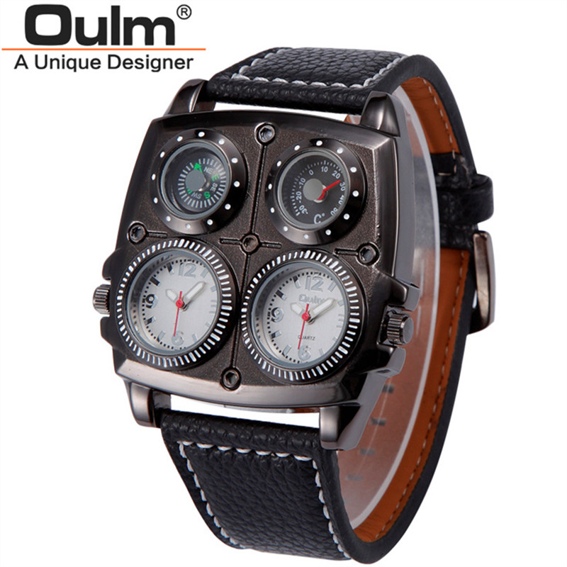 Male Big Watches Luxury Brand Oulm 1140 Clock Fashion Leather Band Japan Movt Quartz Gifts Wrist Watch relogios masculinos 2017 oulm 3597 male quartz watch dual movt multifunctional wristwatch