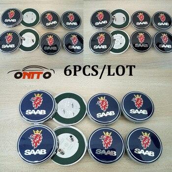 Car Badge stickers 6pcs 68mm Front Hood Emblem/Rear Emblem/4pcs 62mm saab Wheel center covers for 9-3 9-5 93 95 BJ emblem