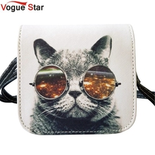 Vogue Star ! Bolsos Carteras Mujer Marca Women PU Leather Cat Wearing Glasses Print Messenger Handbag 2015 Women Bag YA40-207