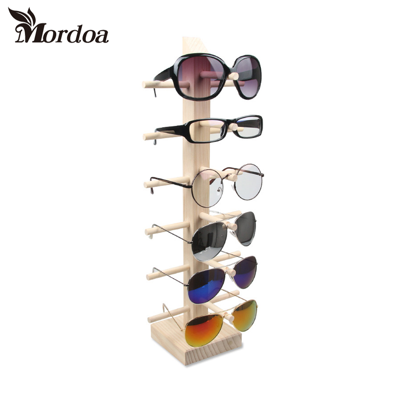 2017 Eyeglass Sunglass Rack Storage Shelf Wood Hang Jewelry Display Wooden Handmade Detachable 6 layer 6