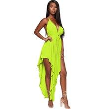 Summer new womens dress sexy strapless halter irregular high slit