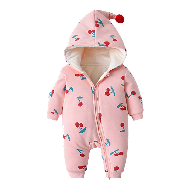 Fashion Hooded Baby Rompers Winter Baby Girls Clothes Cotton Newborn Toddler Clothes Infant Jumpsuits new born Warm Clothing
