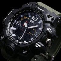SMAEL Dual Display Military Sport Men Watches Montre Homme Waterproof LED Quartz Watch Outdoor S Shock