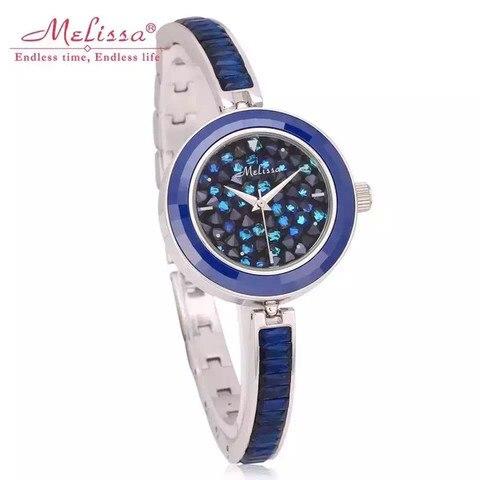 Estrelas da Noite Relógio de Pulso de Quartzo Melissa Marca Mulheres Sparkly Estrelado Relógios Cristais Pulseira Relógio Fina Strass Completo