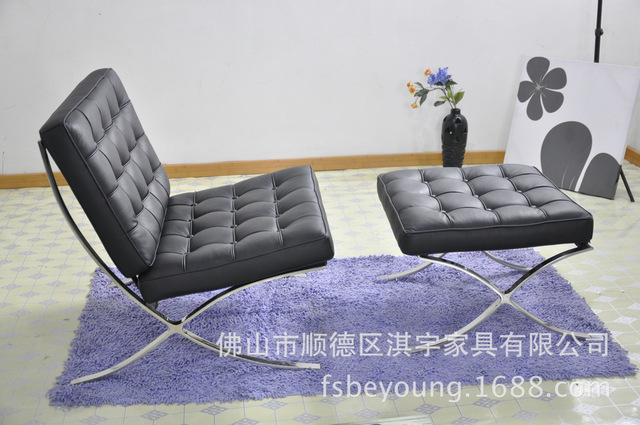 Qi Yu Furniture Q101 Barcelona Modern Family Of Dual Use Export Business Lounge Chair Single