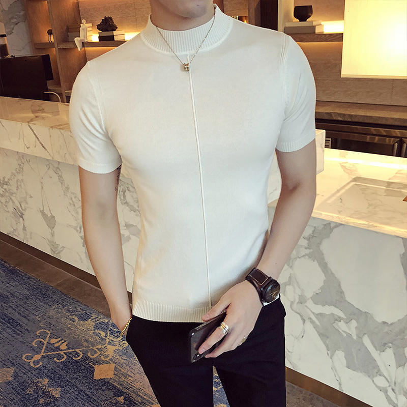 Image 5 - Casual Self cultivation High Lead Neck Knitting Men Sweater 2018 Autumn Leisure Long Sleeve Warm Solid Color Male Pullover M 3XL-in Pullovers from Men's Clothing