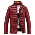 2016 Novo Design PU Couro Casual Down Jacket Engrossar Manter Quente Dos Homens Casaco de Inverno Parka Plus Size: M para XXXL