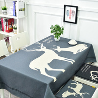 Nordic deer thick cotton linen tablecloth home dining tablecloth TV cabinet coffee table cloth round table placemat