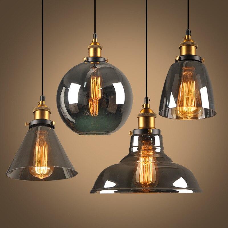 Vintage Pendant Lights Glass Pendant Lamps Industrial Hang Lamp Edison Lighting Fixtures Amber Smoky Grey Lamparas Home Decor