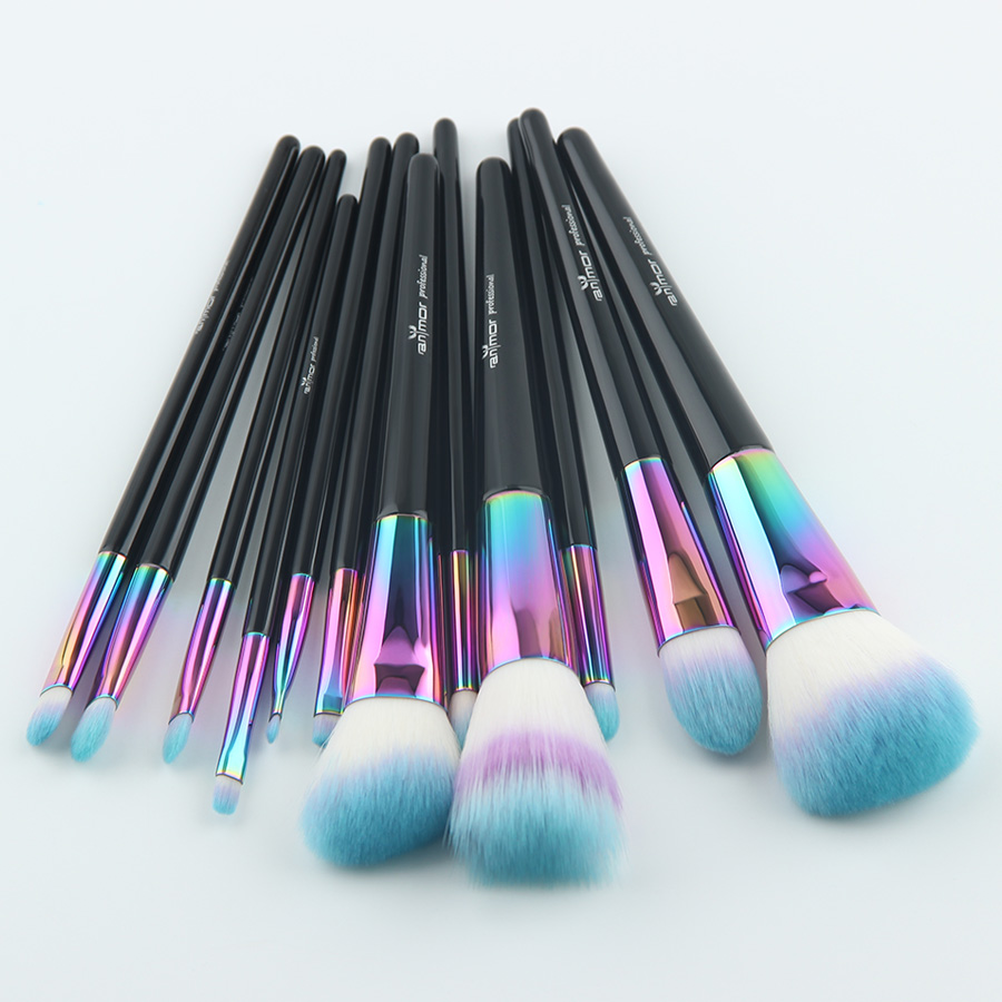 Anmor Rainbow Makeup Brushes 12 PCS Syntetiska Foundation Powder - Smink - Foto 2